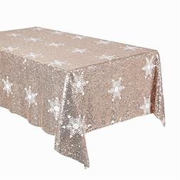 TRLYC 60 x 120-Inch Rectangular Sequin Tablecloth with With