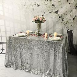 TRLYC 60 x 102-Inch Rectangular Sequin Tablecloth Silver for