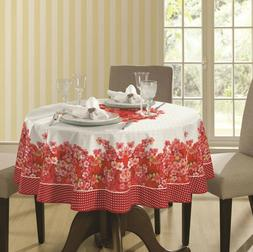 """Red and White Pink Printed Flowers- 60"""" Round Tablecloth wat"""