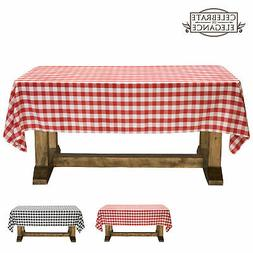 Red and White Checkered Tablecloth Polyester Picnic Table Co