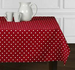 Red & White Polka Dot Tablecloth Dining Room Kitchen Rectang