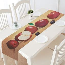 InterestPrint Red Apple Painting Polyester Table Runner Plac