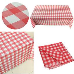 Red Gingham Plastic Temporary Disposable Check Table Cover C