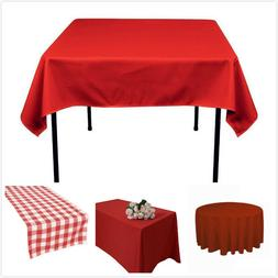 TRLYC Red Polyester Table Cloth Table Runner Wedding Party B