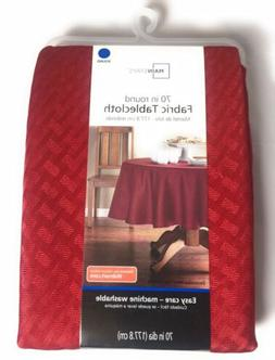 "Mainstays Red Sedona Fabric Tablecloth 70"" Inch Round Machin"