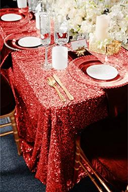 """TRLYC 60"""" 105"""" Red Sequin Table Cloth for Wedding"""