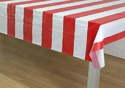 Oojami Red & White Stripes Carnival Theme Party Tablecover P