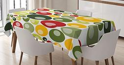 Ambesonne Retro Tablecloth by, Colorful Vintage Pattern with