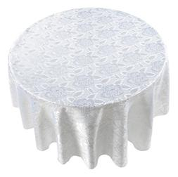 Carnation Home Fashions Rose Damask Round Fabric Tablecloth,