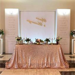 "Rose Gold 50""x80"" Rectangle Sequin Tablecloth Sequin Table C"