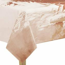 ROSE GOLD Plastic Table Cloth Cover Disposable Metallic Hen