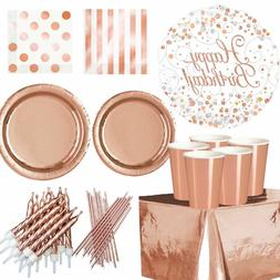 ROSE GOLD Plates Cups Table Cloth Decorations Shiny Disposab