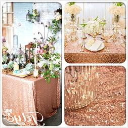 "TRLYC 60"" 105"" Rose Gold Sequin Table Cloth for Wedding"