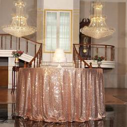 """PartyDelight Rose Gold Sequin Tablecloth Round 120"""" Table Li"""