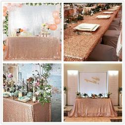 Rose Gold Sequin Tablecloth Rectangle Table Overlay for Wedd