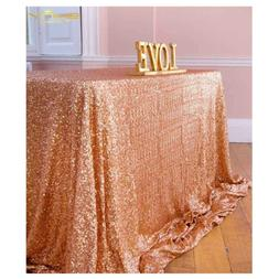 ShinyBeauty Rose Gold Table Cover, Tablecloths for Rectangle