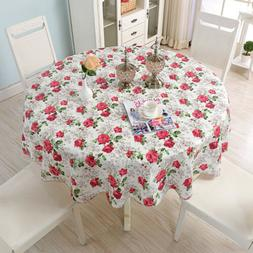 Rose Retro Floral Round Tablecloths 60inch PVC Table Cover f