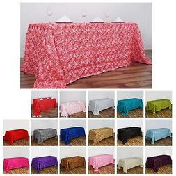 Rosette/ Rose Pattern Rectangle Tablecloth 90x156 For Weddin