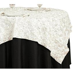 LinenTablecloth Rosette Satin Square Overlay Tablecloth, 72-