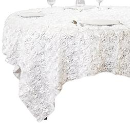 LinenTablecloth Rosette Satin Square Overlay Tablecloth, 85-
