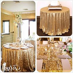 TRLYC 72 Inches Round Cake Sequin Tablecloth for Party Weddi