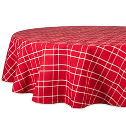"Farmhouse Plaid Round Tablecloth, 100% Cotton with 1/2"" Hem"