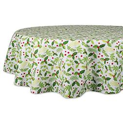 """DII 70"""" Round Cotton Tablecloth, Boughs of Holly - Perfect f"""