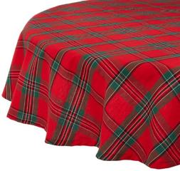 "Holiday Plaid Round Tablecloth, 100% Cotton with 1/2"" Hem fo"