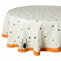 """DII 70"""" Round Cotton Tablecloth, Black Stars - Perfect for H"""