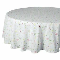 "DII 70"" Round Cotton Tablecloth, Christmas Stars - Perfect f"