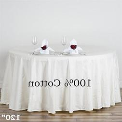 BalsaCircle 120-Inch Ivory Premium Round Cotton Tablecloth T