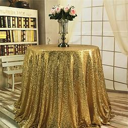 "TRLYC 120"" Round Gold Sequin Table Cloth for Wedding Party a"