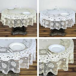 """ROUND PLASTIC TABLECLOTH 70"""" with Crocheted Lace Catering Ho"""