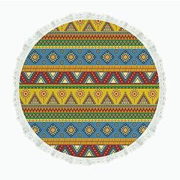 """iPrint 60"""" Round Polyester Linen Tablecloth,Aztec,Traditiona"""