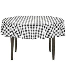 LinenTablecloth 70-Inch Round Polyester Tablecloth Black & W