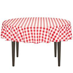 LinenTablecloth 90-Inch Round Polyester Tablecloth Red & Whi