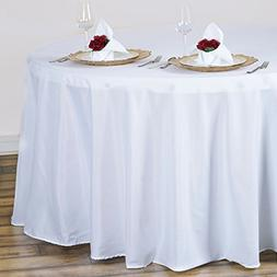 "White 120"" Round Polyester TableclothFor Wedding Party Decor"