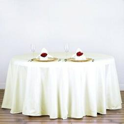 BalsaCircle 120-Inch Ivory Round Polyester Tablecloth Table