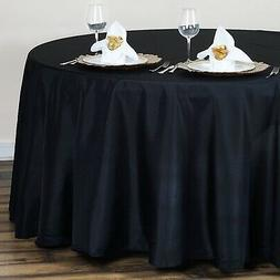 BalsaCircle 120-Inch Black Round Polyester Tablecloth Table