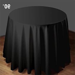 BalsaCircle 90-Inch Black Premium Round Polyester Tablecloth