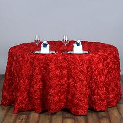"BalsaCircle 120"" Red Satin Raised Rosettes Round Tablecloth"