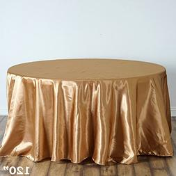 BalsaCircle 120-Inch Gold Round Satin Tablecloth Table Cover