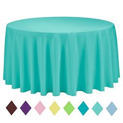 VEEYOO 120 inch Round Solid Polyester Tablecloth Wedding Res