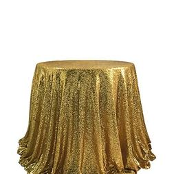 "72"" Round Sparkly Gold Sequin Table Cloth Sequin Table Cloth"