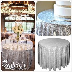 """72"""" Round Sparkly silver Sequin Table Cloth Sequin Table Clo"""