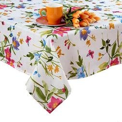 Round Tablecloth 60 inch Wild Flowers, Blossoms on White Eas