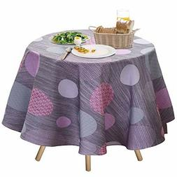 "Round Tablecloth 70"" Spill Proof Polyester Fabric Polka Dot"