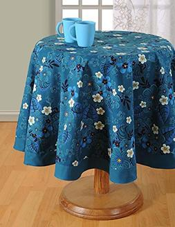ShalinIndia Floral Print Round Tablecloth - 60 inches in Dia