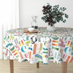 Round Tablecloth Alphabet Letters Nursery Baby Kids Colorful