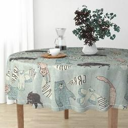 Round Tablecloth Bear Wolf Owl Bison Cotton Sateen